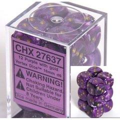 CHX27637 12d6 16mm Vortex Purple w/Gold Dice Set