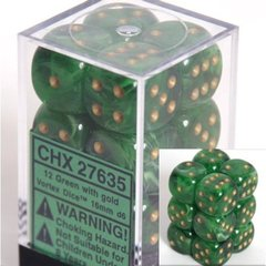 12 Green w/gold Vortex 16mm D6 Dice Block - CHX27635