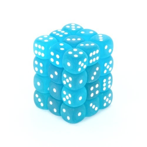 36 Caribbean Blue w/white Frosted 12mm D6 Dice Block - CHX27816