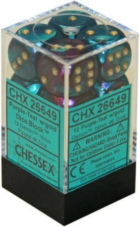 12 Purple-Teal w/gold Dice Block - CHX26649