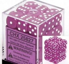 36 12mm Light Purple w/White Opaque D6 Dice - CHX25827