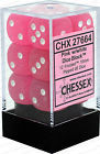 12 Frosted Pink w/White 16mm D6 Dice - CHX27664
