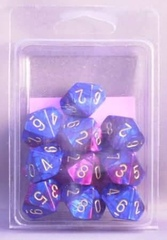 10 Blue-Purple w/Gold Gemini D10 Dice Set - CHX26228