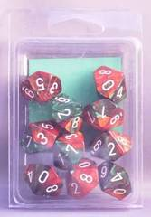 10 Green-Red w/White Gemini D10 Dice Set - CHX26231
