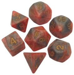 7 dice set Resin Combo Orange/Brown