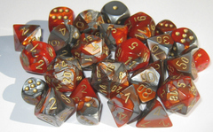 7 Orange-Steel w/gold Gemini Polyhedral Dice Set - CHX26461