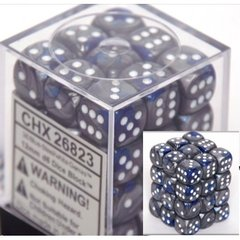 36 Blue-steel w/white Gemini 12mm D6 Dice Block - CHX26823 on Channel Fireball