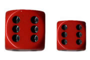 12 Red /black Opaque 16mm D6 Dice Block - CHX25614