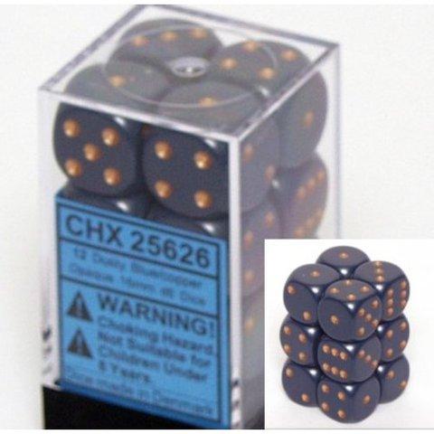 12 Dusty Blue w/copper Opaque 16mm D6 Dice Block - CHX25626