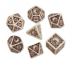Beige-Brown Steampunk Clockwork Dice Set (7)