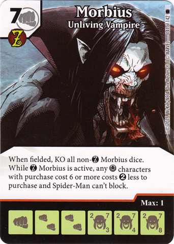 Zombie Morbius >> Morbius Unliving Vampire Die Card Combo Dice Masters