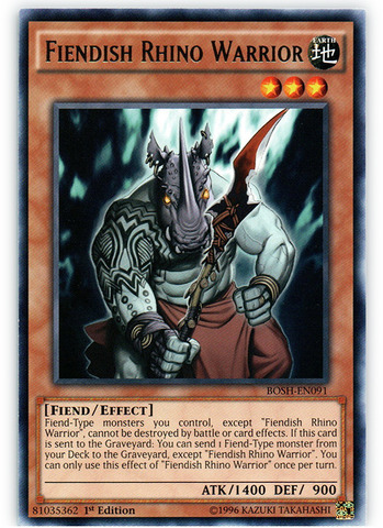 Fiendish Rhino Warrior - BOSH-EN091 - Rare - 1st Edition