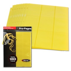 BCW Side Loading 18 Pocket Pro Pages - Yellow