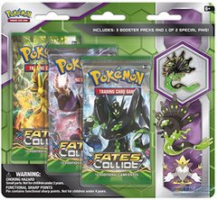 XY Fates Collide 3-Pack Booster Blister - Zygarde Pin