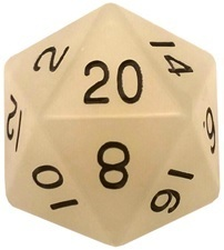 Acrylic Dice 35mm Mega D20 Glow Clear with Black Numbers