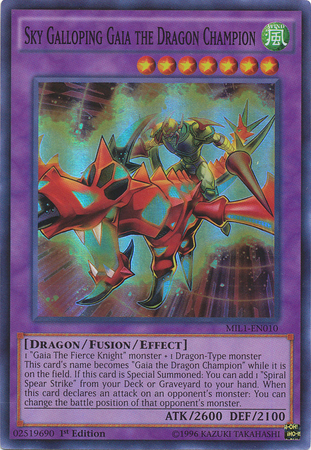 Sky Galloping Gaia the Dragon Champion - MIL1-EN010 - Super Rare - 1st Edition