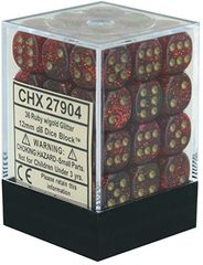 Glitter Ruby and Gold 36ct 12mm D6 Dice Block - CHX27904