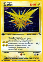 Zapdos - 15/62 - Holo Rare - 1st Edition on Channel Fireball