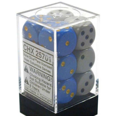 DICE OPAQUE 16MM D6 DIXIE DICE (12) CHESSEX - CHX25701