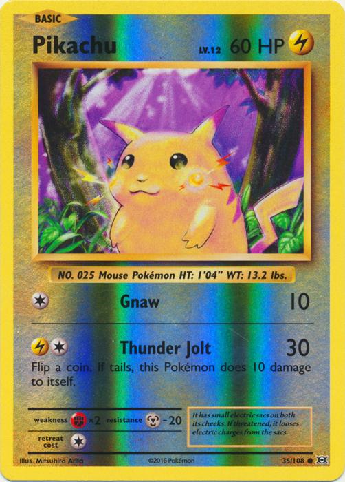 pikachu 35 108 common reverse holo pokemon card singles xy
