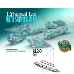 Polyhero Dice: D20 Wizard Hat Promo - Ethereal Ice With Burning Blue
