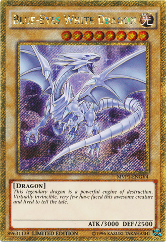 Blue-Eyes White Dragon - MVP1-ENGV4 - Gold Secret Rare - Limited Edition