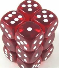Transparent 12D6 Red/White 16Mm Round Cornered Dlx