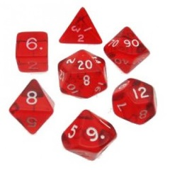 Translucent Polyhedral Red/White 7/Set 23074