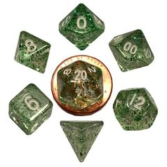 7 Count Mini Dice Poly Set: Ethereal Green With White Numbers