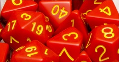 Opaque Red with Gold Numbers - Set of 15