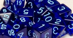Translucent Dark Blue with Lt Blue Numbers - Set of 7