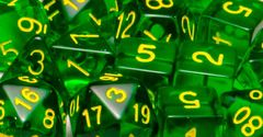 Translucent Dark Green with Gold Numbers - Set of 7