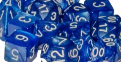 Marble Blue  with White Numbers - Set of 15