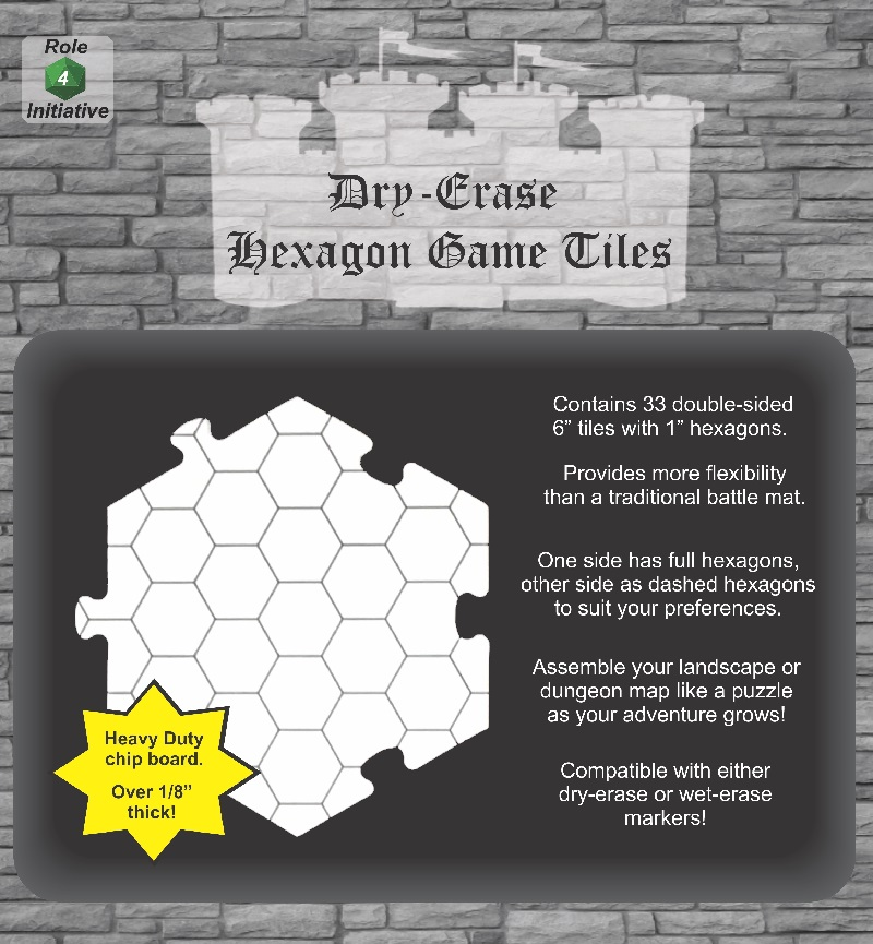 Role 4 Initiative - Dry Erase 6 Inch Hexagon Game Tiles  - Pack of 33