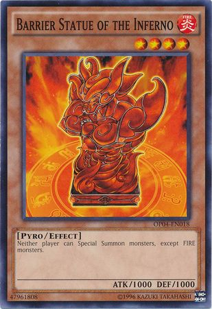 Barrier Statue of the Inferno - OP04-EN018 - Common - Unlimited Edition