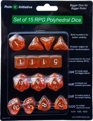 Set Of 15 Dice: Translucent Orange W/ White