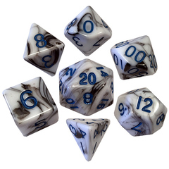 7 Count Dice Poly Set: 16Mm Marble With Blue Numbers