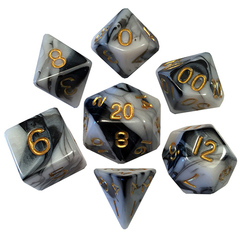 7 Count Dice Poly Set: 16Mm Marble With Gold Numbers