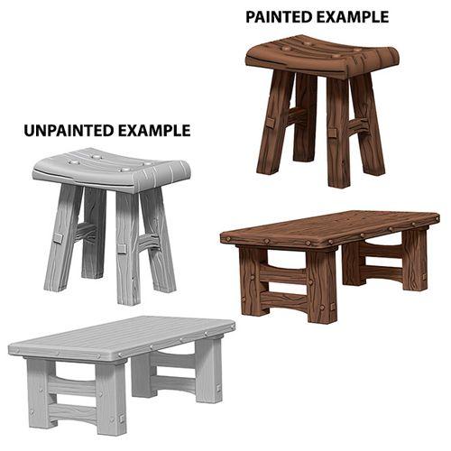 WizKids Deep Cuts Unpainted Miniatures: W4 Wooden Table & Stools