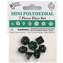 Mini Polyhedral Dice: Opaque - Black With Green Numbers (7Ct)