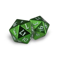 Ultra Pro - Heavy Metal Dice D20: Set Of 2 - Emerald Frost With White Numbers
