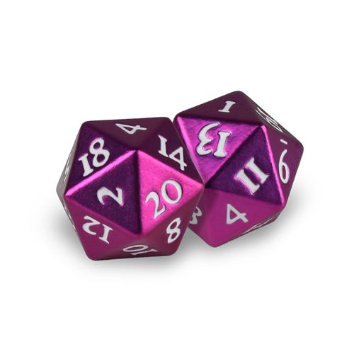 Ultra Pro - Heavy Metal Dice D20: Set Of 2 - Grenadine With White Numbers