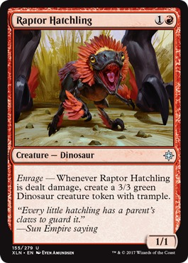 4 x THRASH OF RAPTORS NM mtg Ixalan Red Dinosaur Com