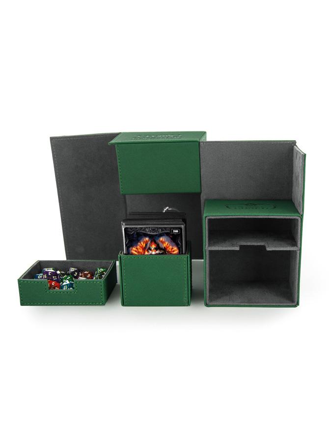 Ultimate Guard - Twin FlipnTray Deck Case - XenoSkin Standard Size 160+ Green
