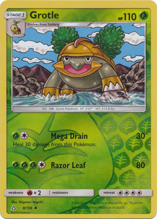 Grotle 8156 Uncommon Reverse Holo Pokemon Singles Sun