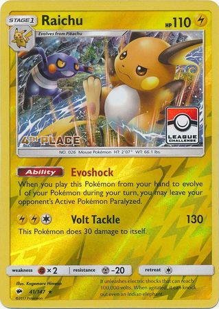 Raichu - 41/147 - 4th Place Reverse Holo Pokemon League League Challenge Promo