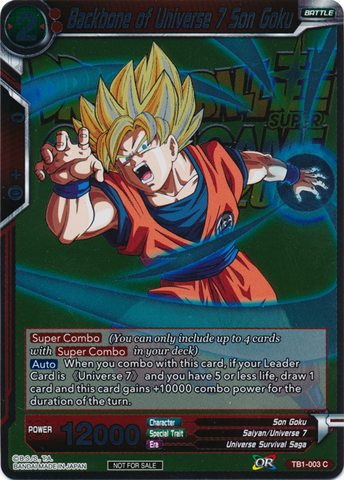 Backbone of Universe 7 Son Goku (Event Pack 2018) - TB01-003 - C - Foil