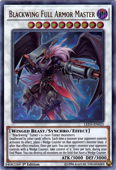 Blackwing Full-Armor Master - LED3-EN023 - Ultra Rare - 1st Edition