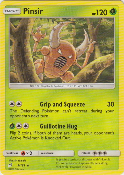 Pinsir Trading Card Game Rare Card Pokemon Sun /& Moon Team Up 9//181
