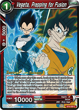Vegeta, Prepping for Fusion - BT6-009 - C - Pre-release